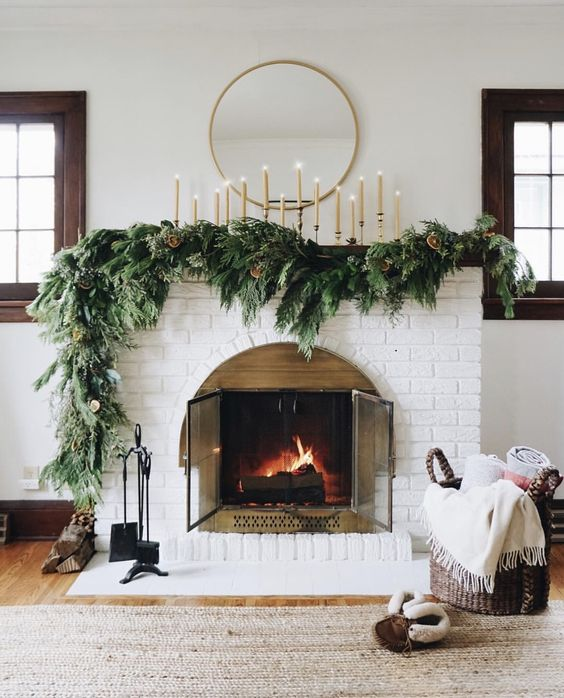 How to Decorate Your Fireplace Mantle for Christmas  Beautiful, Modern Christmas Fireplace Mantle Decor | Miranda Schroeder Blog  Black & White Christmas Decor, Modern Christmas Stockings, Garland, Wreaths, Mantle, Fireplace  www.mirandaschroeder.com